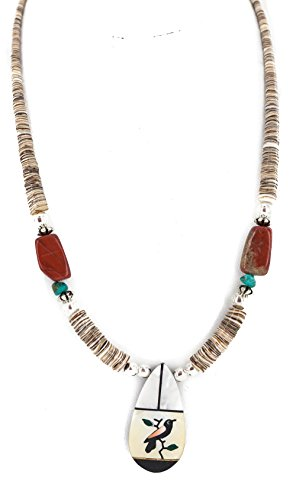 Mop Native ($270Tag Bird Silver Navajo Inlay Natural Turquoise MOP Red Jasper Onyx Native American Necklace)