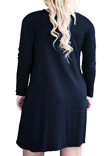 Size Long Women's Navy Plus with FOLUNSI Blue Casual T Dress Pleated Sleeve Shirt Pockets xgEqwIw