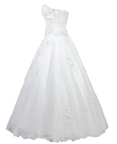 Faironly White Strapless Formal Wedding Dress Prom Gown (XL)