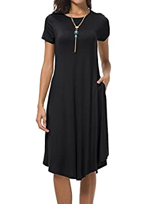 levaca Women's Plain Short Sleeve Loose Swing Casual Midi Dress With Pockects