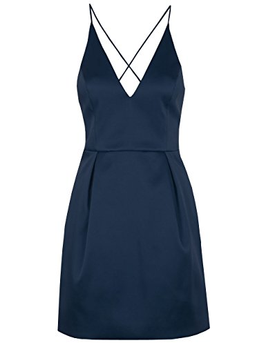 Neck Dresses Satin DYS Cocktail Prom s Short Party Dress Navy Backless Blue Women V xqwUwTFP