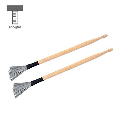 - Sala-Fnt - 1 Pair Double Heads Short Drum Wire Brushes Drumsticks Mallets Percussion Instrument Accessory