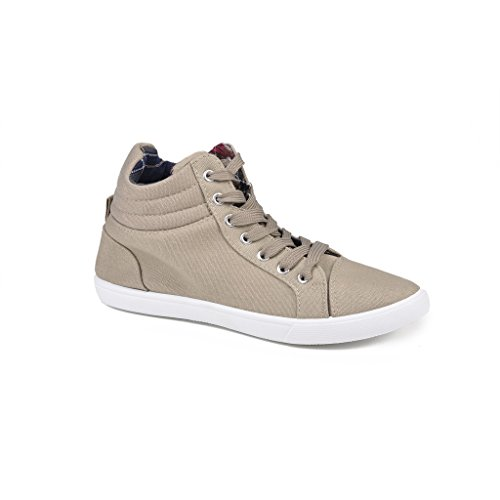 Twisted Women's Lane Lace-Up Mid- Top Fashion Sneakers with Printed Lining- TAUPE, Size 8