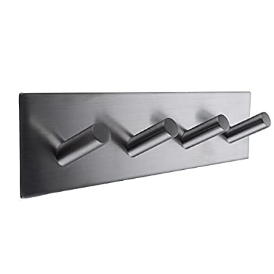 KES A7063H4 Bathroom Lavatory Self Adhesive Coat and Robe Hook Rack/Rail with 4 Hooks, Brushed Stainless Steel - Constructed of stainless steel ensuring durability and dependability Brushed stainless steel finish Ideal for use in bedrooms, bathrooms, and closets - entryway-furniture-decor, entryway-laundry-room, coat-racks - 319Lo0%2B457L. SS400  -
