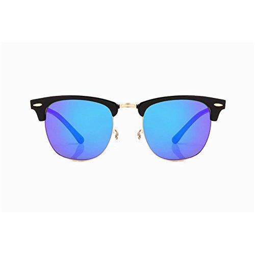 エンドウ剃るカーテン偏光サングラスドライバーの眼鏡パイロット偏光サングラスカエルミラー飛行屋外スポーツのための適切なカラーフィルム反射サングラス。 (Color : Blue)