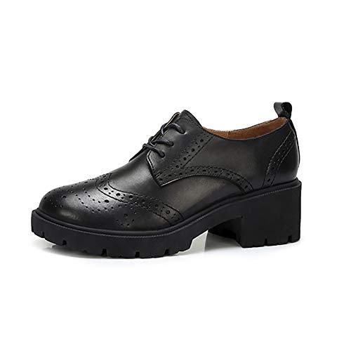 Otoño Británico De Grueso Opcional Cuero Tallados Estilo Oxford Mujer Negro Zapatos Color Individuales Talón Zapatos Zapatos Casuales xnEvHAx