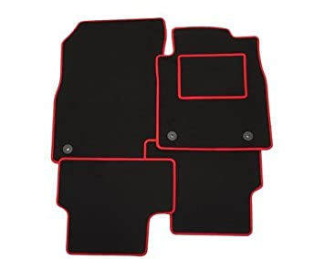 Tailored Car Mats In Black With Red Trim Amazon Co Uk Car Motorbike