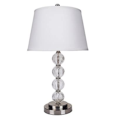ORE International Satin Nickel Glass Lamp