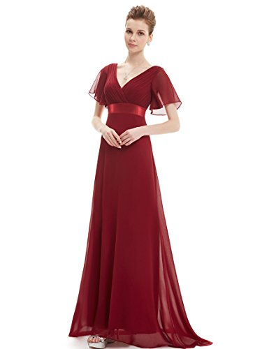 Ever-Pretty Womens Long V Neck Ruched Bust Evening Party Dress 10 US Burgundy