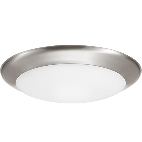 GetInLight 9 Inch LED Disk Light, Dimmable, Recessed or Surface Mount, Bright White 4000K, Brushed Nickel Finish, ETL Listed, Wet Location Rated, IN-0301-5-SN-40