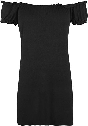 WearAll Women's Plus Size Off Shoulder Gypsy Boho Top - Black - 12