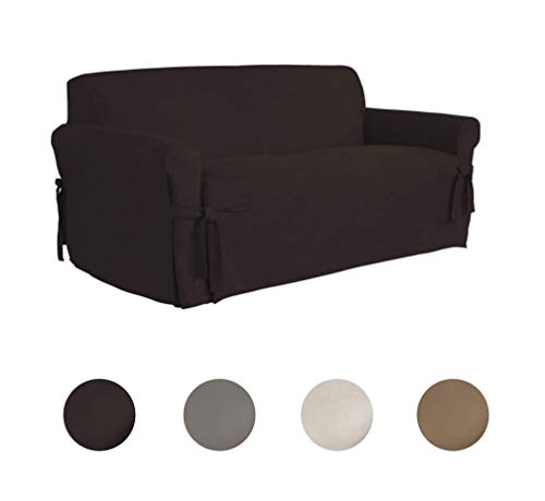 Serta   Relaxed Fit Smooth Suede Furniture Slipcover for Lov