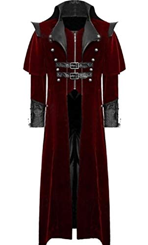 (Zimaes-Men Retrol Rocker Punk Open Front Vampire Count Coat Jacket Red XL)