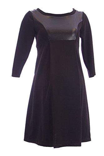 Olian Maternity Women's Faux Leather Inset Princess Panel Dress Medium Black
