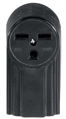 Eaton WD1232 30-Amp 2-Pole 3-Wire 240-Volt Surface Mount Power Receptacle, Black - Surface Mount Wire