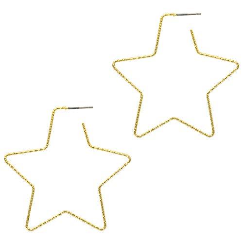 And Lovely 14K Gold Dipped Star Earrings - Hypoallergenic Lightweight Fun Statement Drop Dangle Earrings (Diamond Cut Gold Star Hoop)