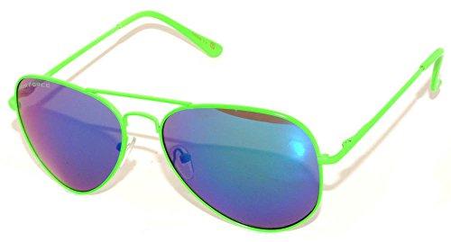Classic Aviator Sunglasses Neon Green Metale Frame with Spring Hinge Blue Revo Mirror - Neon Green Sunglasses