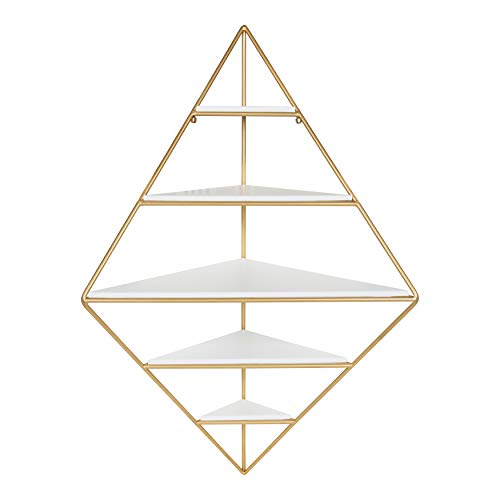 Kate and Laurel Melora Modern Corner Wall Shelf with Gold Frame and Solid Wood Shelves, White