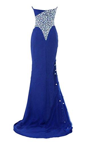 Sunvary Herzform Chiffon Lang Partykleider Neu Exklusive Blau Abendkleider Steine
