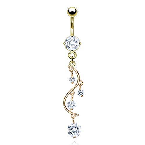 14k Gold Vine - CZ vine Dangle Navel Belly Ring 14k Gold Plated Over (316L) Surgical Steel 14g (1.6mm) (clear CZ)