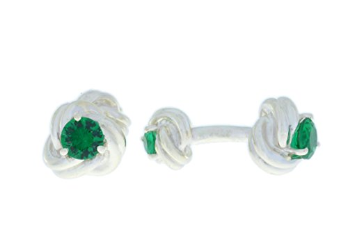 Emerald Cufflinks (2.5 Ct Simulated Emerald Knot Cufflinks Brass Rhodium Plated)