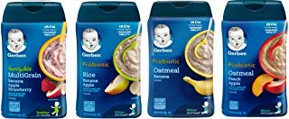 - Gerber Baby Cereal Assorted Flavor Variety Pack: Oatmeal & Peach Apple Cereal, Rice & Banana Apple Cereal, Oatmeal & Banana Cereal, Hearty Bits MultiGrain Banana Apple Strawberry Cereal. Bundle of 4- 8oz Containers