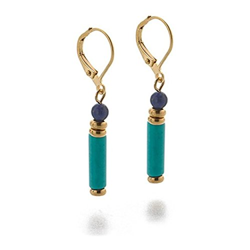 Pewter Egyptian Turquoise and Lapis Leverback Drop Earrings Pricegems Museum Store