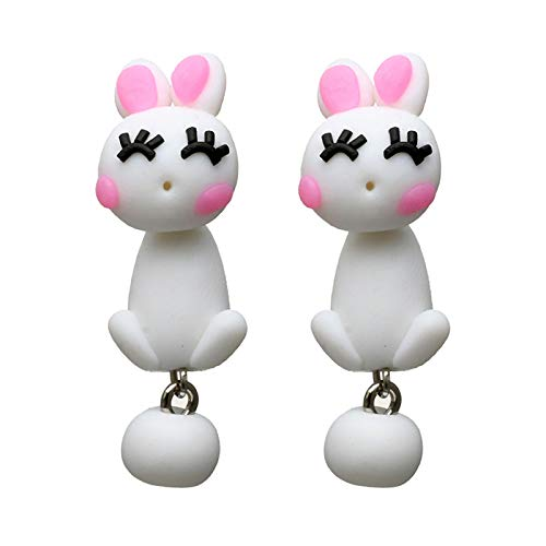 Topdo Womens Girls Stud Earrings Cute Animal White Rabbit Soft Pottery Daily Ear Cuff Simple Jewelry Gift 1Sets