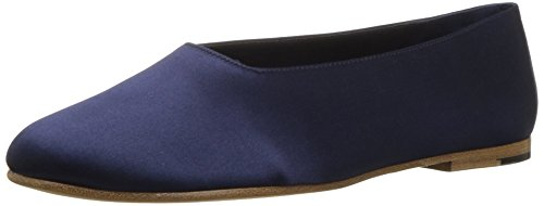 Vince Women's Maxwell Ballet Flat, Navy Satin, 6.5 Medium (Satin Womens Flat)