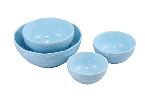 BonNoces Porcelain Mixing Bowl Set - 4 Pieces Various Sizes (Diameter: 8