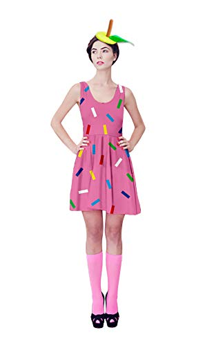 UNIFACO Women Halloween Festival Sleeveless Ice Cream Themed Printed Summer Maxi Dress Large for $<!--$15.99-->