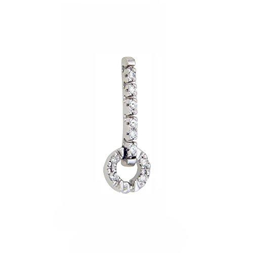 Or Blanc 9 ct Pendentifs Diamant , 0.12 Ct Diamant, GH-SI, 2.1 grammes.