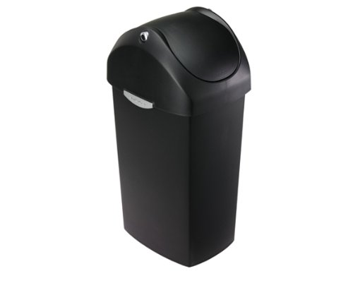 simplehuman Swing Lid Trash Can, Black Plastic, 60 L / 16 Gal