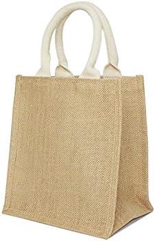 Jute Burlap Tote Bags Soft Cotton Handles Laminated Interior Reusable Grocery Shopping Bag