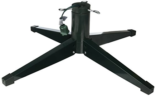 its 22 in leg span gives stability to your christmas tree and the tree stand is revolving the three eyebolts keep well centered and tight your tree