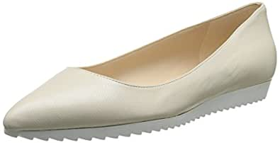 Nine West Women's Otherhalf Leather Ballet Flat, Off White, 10.5 M US