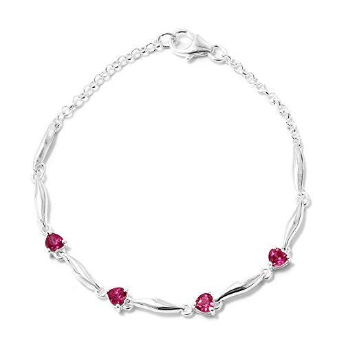 (925 Sterling Silver Created Ruby Fashion Love Heart Valentines Bracelet For Women 7.25
