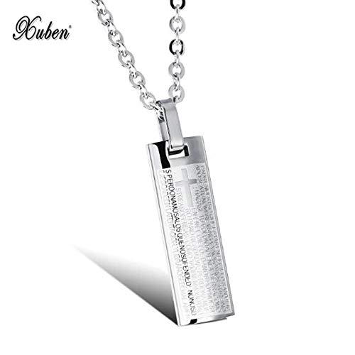 Retro Classical Titanium Steel Cross Scripture Column Pendants | Men's Necklaces | Religious Ornaments