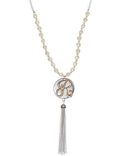 Two Tone Medallion - Jewelry Nexus R Monogram Two-Tone Medallion Necklace with Imitation Pearls & Dangling Tassle