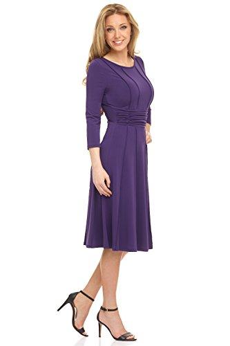 3 with Aubergine Women's Rekucci 4 Dress Slimming Exposed Sleeves Seam qxazdYzwX