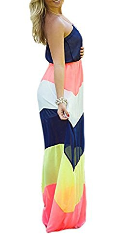 Colorblocked Maxi Dress (Yonala Women's Strapless Top Color Block Shirring Waist Maxi Long Chiffon Dress, Colorful, Large, Colorful)