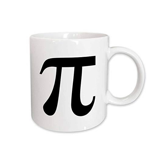 3dRose mug_164891_1 Pi Symbol Math Sign Mathematical Black and White Mathematics Number Ceramic Mug, 11-Ounce