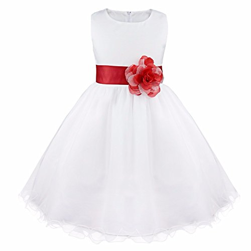 Dresess For Girls - FEESHOW Satin Bodice White Communion Flower
