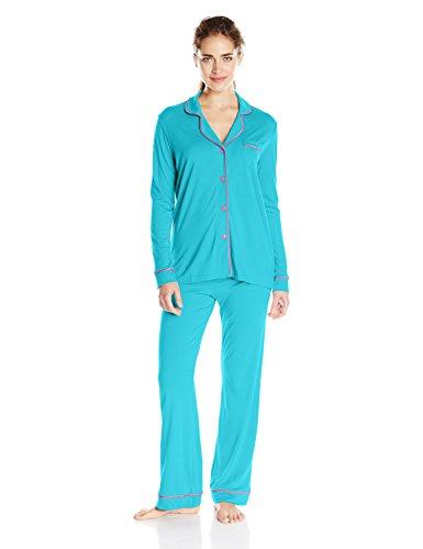 - Cosabella Women's Bella Ls Top and Pant, Blue Medium/Canyon Pink, Large