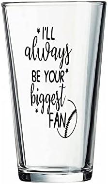 """Vaso de béisbol, béisbol con texto en inglés """"I'll Always Be Your Biggest Glass for Water, Zumo, Cerveza, Licor, Whisky en bodas, fiestas, Día de la Madre, Día del Padre, Cumpleaños."""