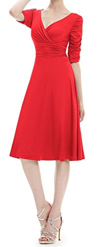 TINYHI 3/4 Sleeve Ruched Waist Elegant V-neck Casual Party Dress – Small, Red
