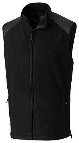 Cutter & Buck Men's Spark Systems Cedar Park Full-Zip Performance Fleece Vest, Black, X-Large