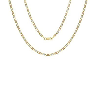 14k Tri-color-gold 2 mm Valentino Link Chain, ( 16-20 Inch ) from Roberto Martinez