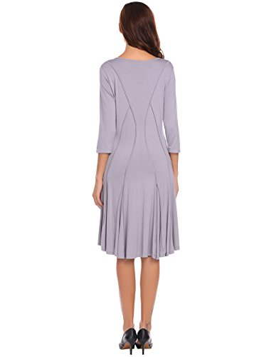Misakia Women Retro Sleeve Dresses gray Rockailly Vintage 5 Swing 4 3 Hepburn rrqxdwAfO