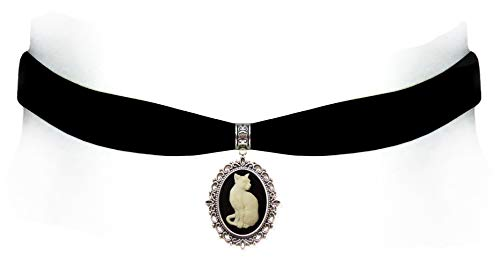 Victorian Vault Black Velvet Choker Gothic Steampunk Cat Cameo Pendant Necklace